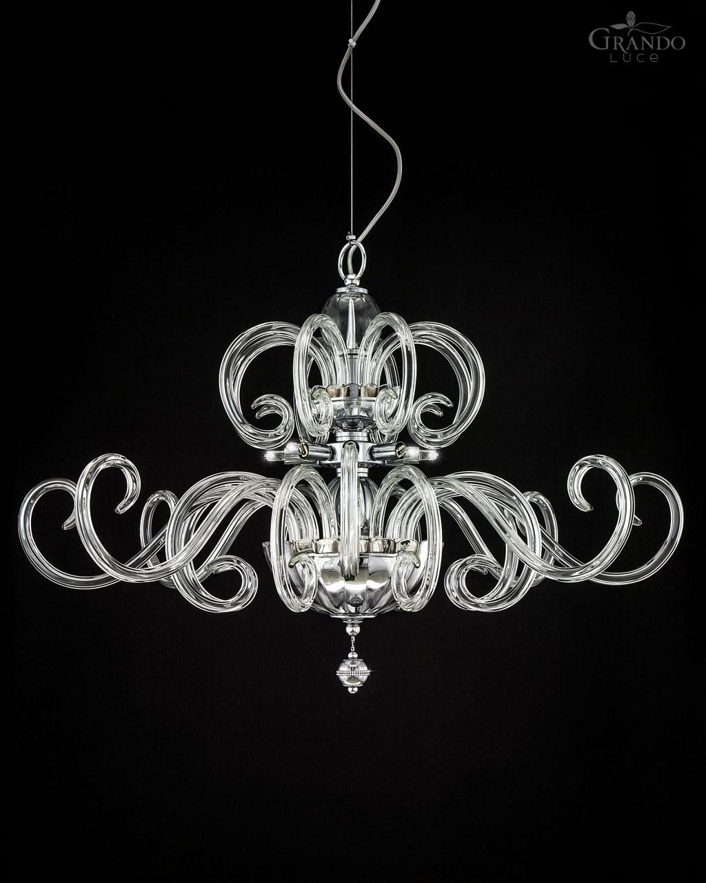 119sg Chrome Modern Crystal Chandelier With Crystal Swarovski Pertaining To Modern Silver Chandelier (#1 of 12)