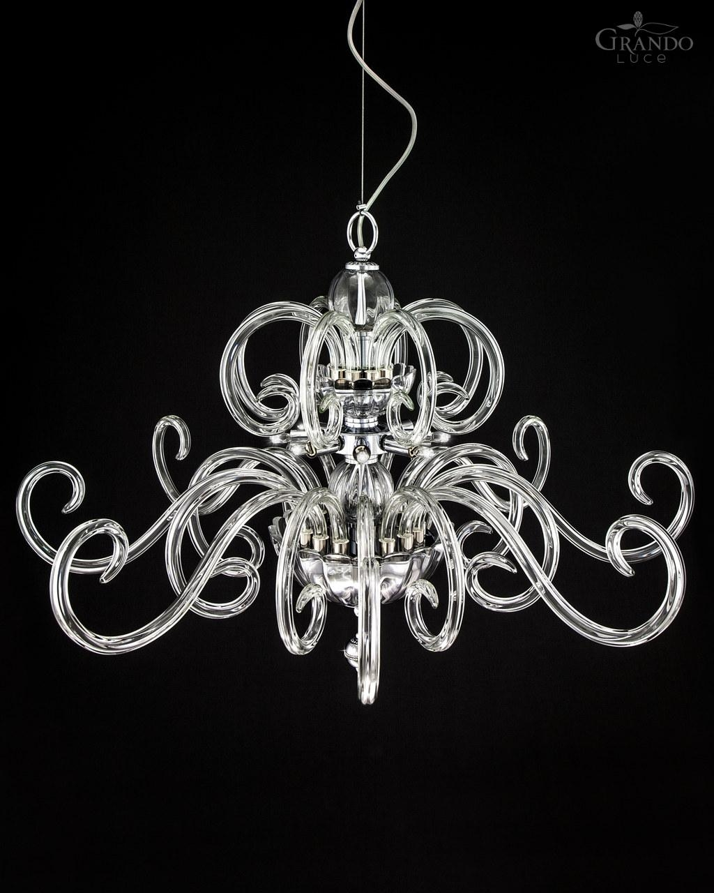 119sg Chrome Modern Crystal Chandelier With Crystal Swarovski Throughout Modern Chrome Chandeliers (#1 of 12)