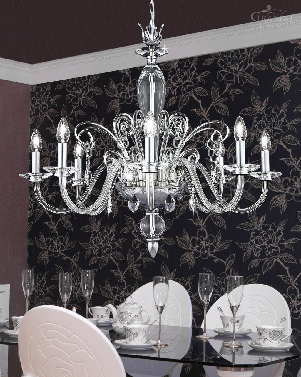 1208 Ch Chrome Crystal Chandelier With Swarovski Elements Pertaining To Crystal Chrome Chandelier (#2 of 12)