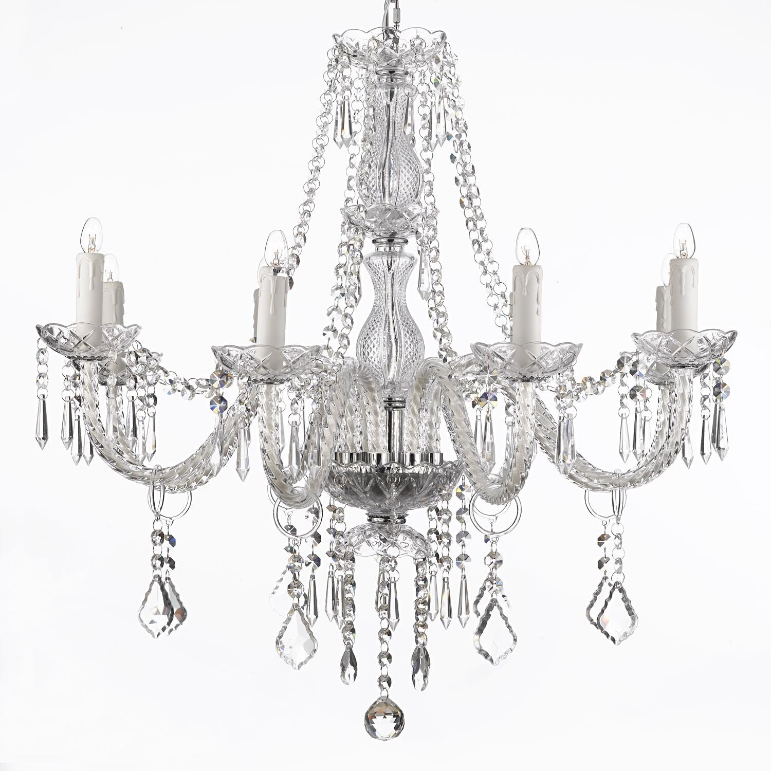 159 Crystal Chandelier Lighting 28ht X 28wd 8 Lights Fixture With Regard To Small Chandeliers For Low Ceilings (#1 of 12)