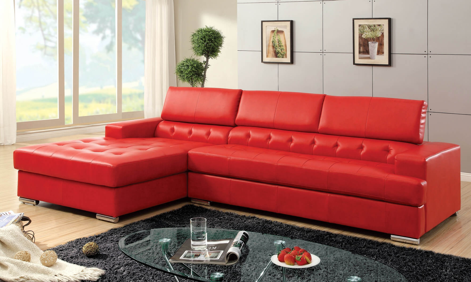 Left Side Chaise Sofa Leather Sectional Sofa