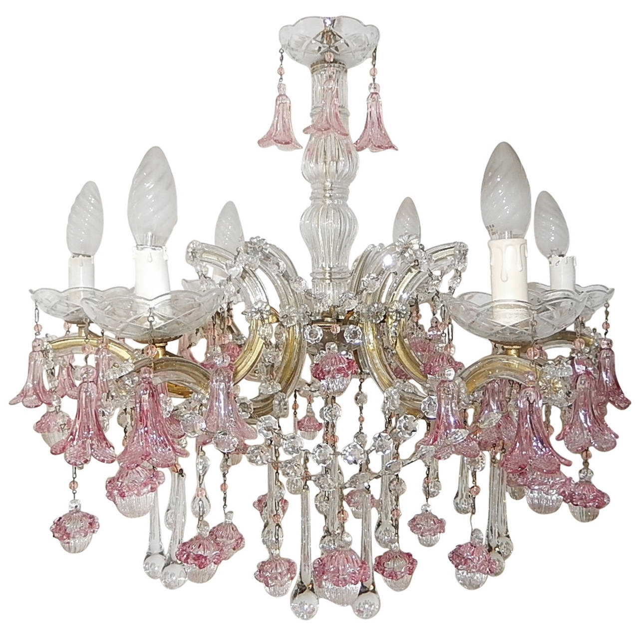 1920 French Fuchsia Murano Flowers And Balls Chandelier At 1stdibs Regarding Fuschia Chandelier (#1 of 12)