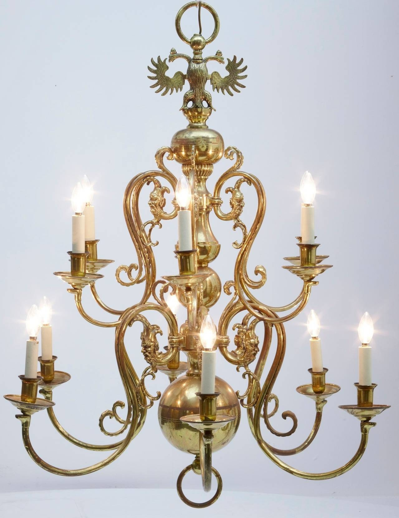 19th Century Twelve Arm Large Dutch Brass Chandelier At 1stdibs For Large Brass Chandelier (#1 of 12)