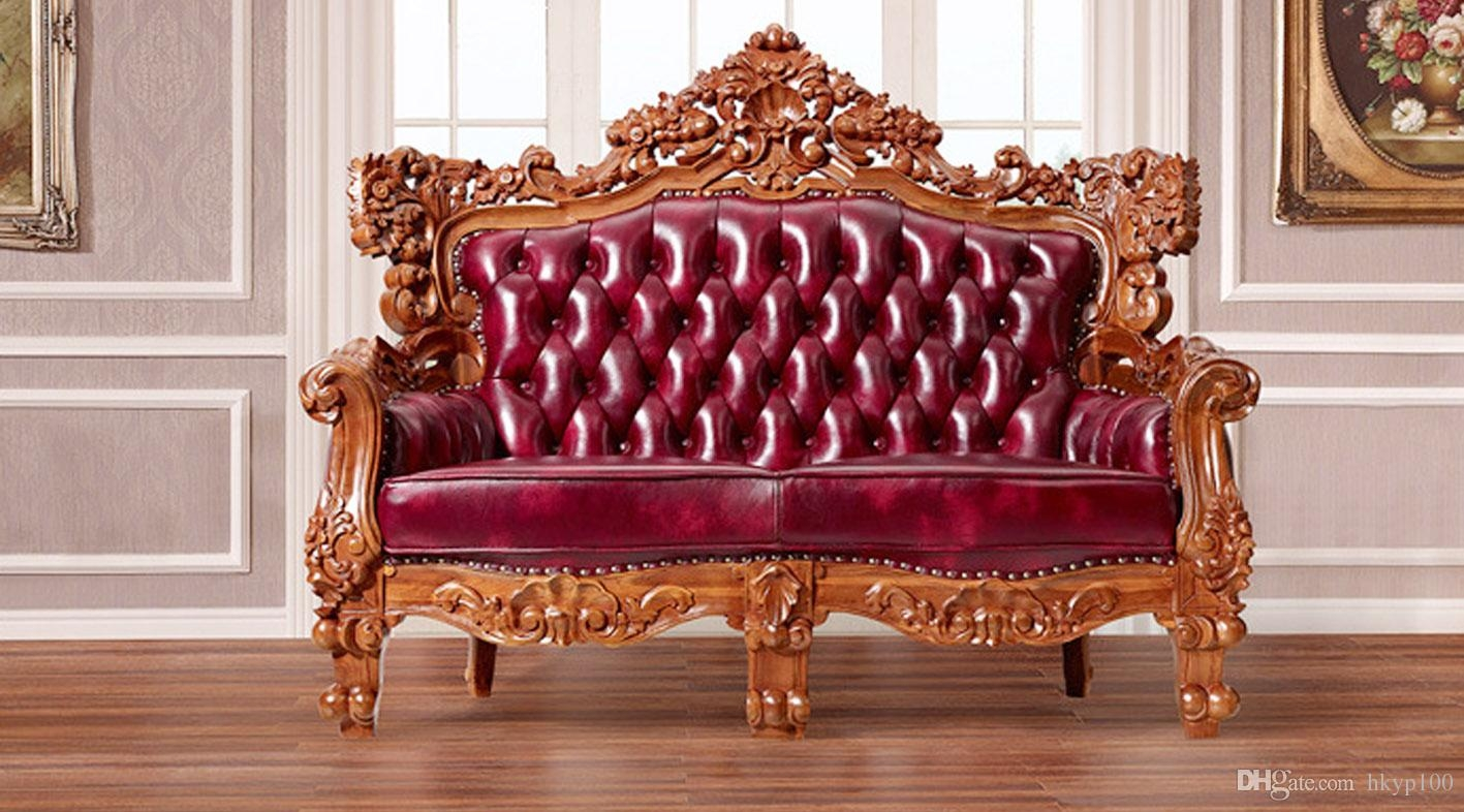 2017 2015 New Carved Classic European Style Sofa Leather Sofa Regarding European Style Sofas (#1 of 12)