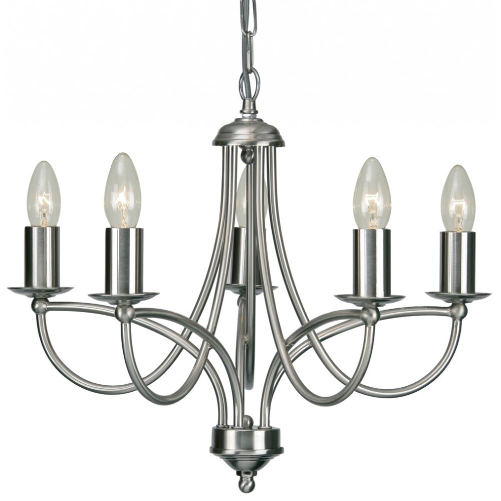 27115ac Loop 5 Light Chandelier In Antique Chrome Throughout Chrome Chandeliers (#3 of 12)