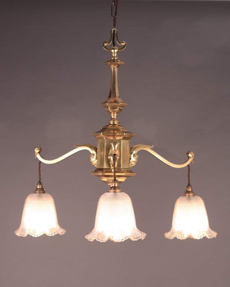 3 Branch Edwardian Chandelier With Holophane Shades Edwardian With Edwardian Chandelier (#1 of 12)