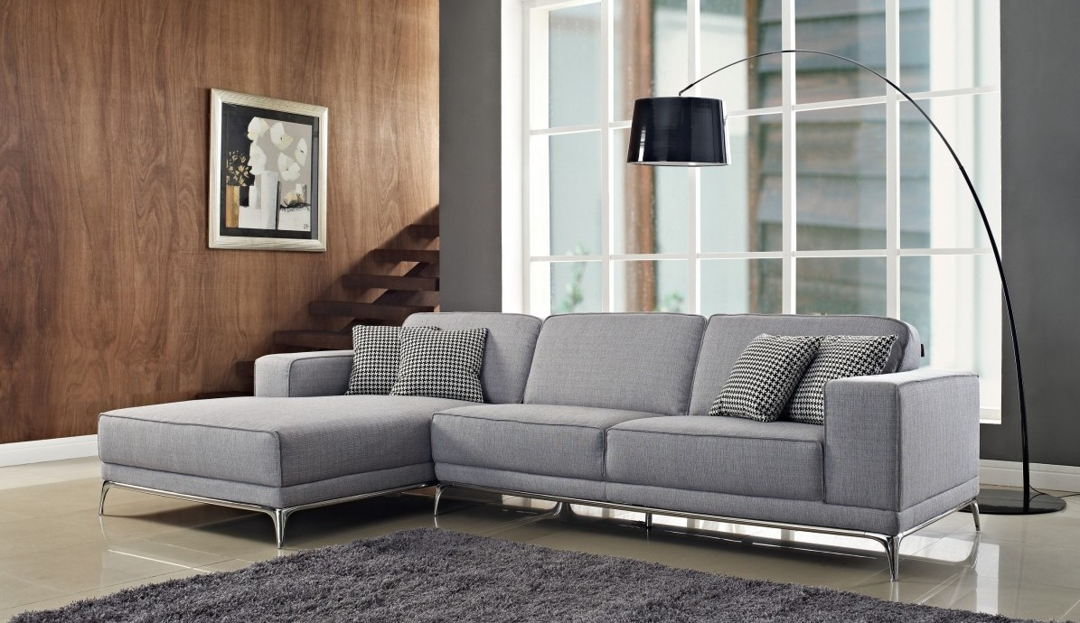 3 Piece Gray Color Sectional Sleeper Sofa With Stainless Steel In 3 Piece Sectional Sleeper Sofa (#1 of 12)