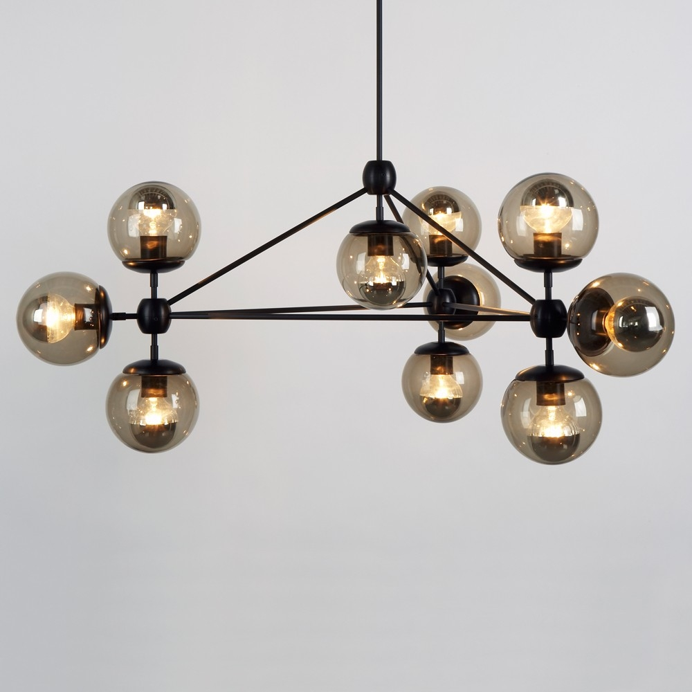 3 Sided Modo Chandelier 10 Globes Jason Miller Chandelier Within Smoked Glass Chandelier (#1 of 12)