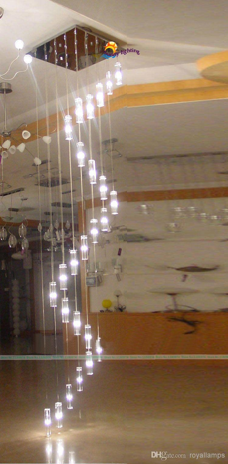 30 Lights 35 4m Large Long Stairway Crystal Chandelier Lamp Big With Regard To Long Chandelier Light (#2 of 12)