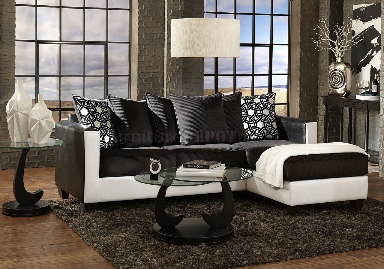 3001 Sectional Sofa In Black White Intended For Black And White Sectional Sofa (View 5 of 12)