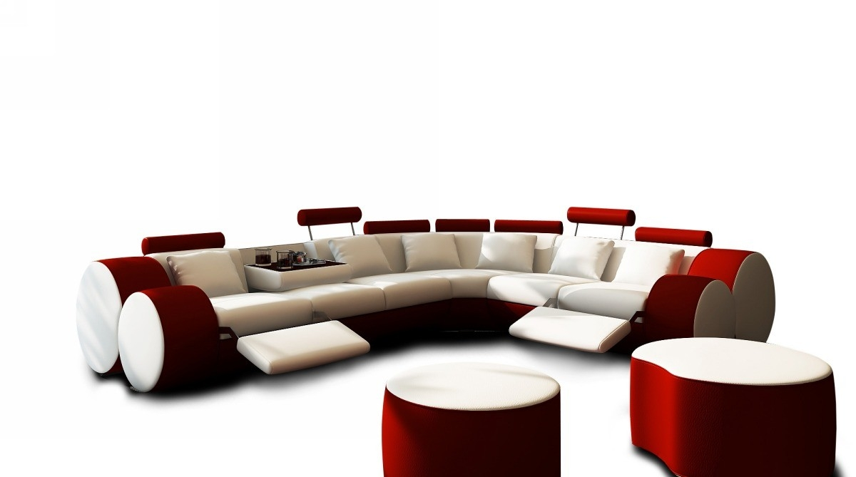 Inspiration about 3087 Modern White And Red Leather Sectional Sofa And Coffee Table In Black And White Sectional Sofa (#11 of 12)