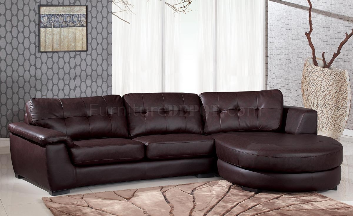 Inspiration about 3612 Sectional Sofa In Brown Leather Global With Regard To Comfortable Sectional Sofa (#5 of 12)