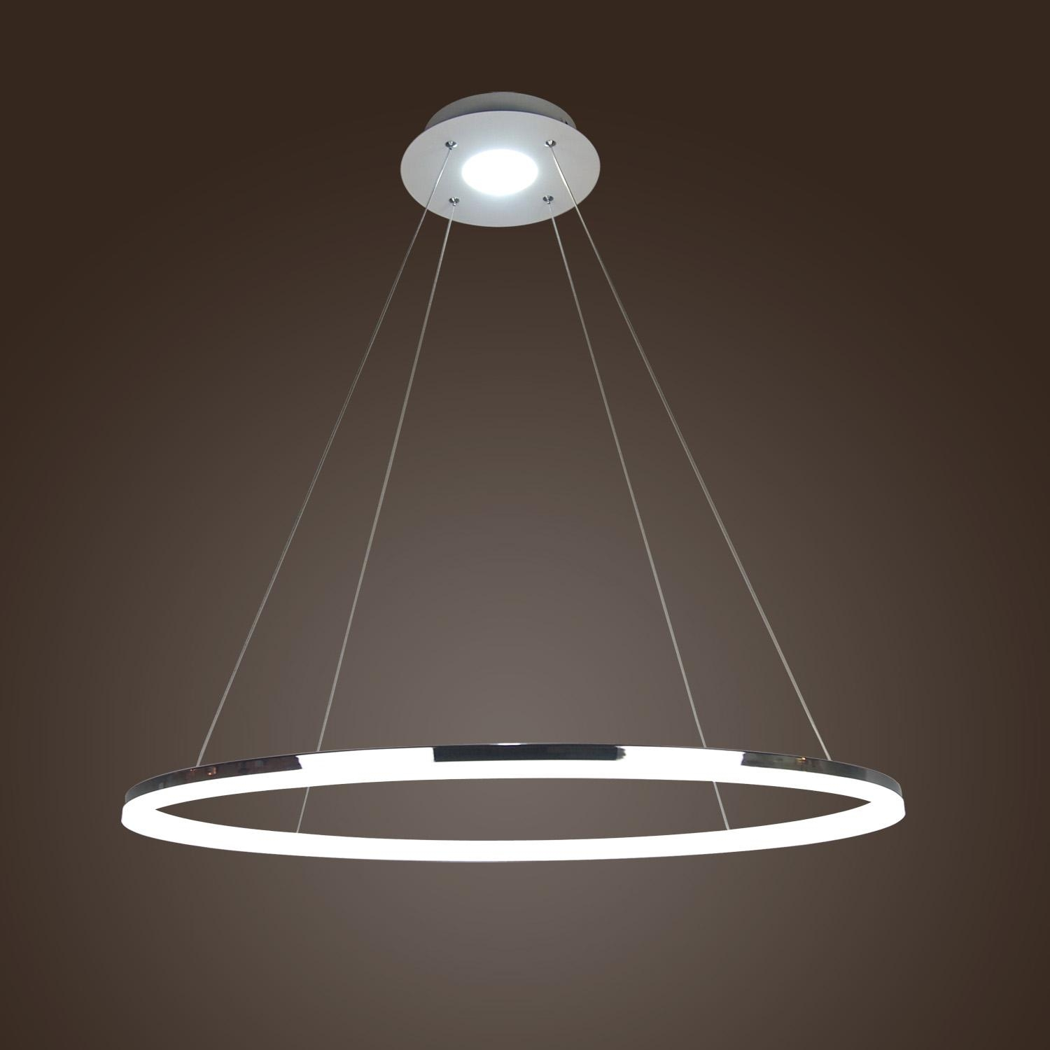 406080cm Modern Led Acrylic Round Pendant Chandelier Ceiling Throughout Modern Led Chandelier (#1 of 12)
