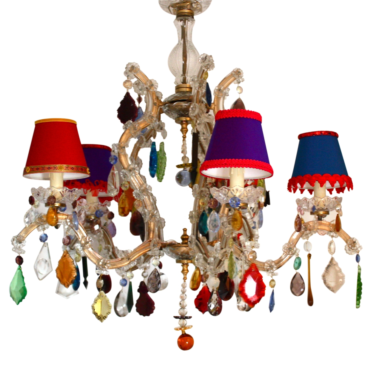 5 Arm Glass Marie Therese With Multi Coloured Drops The Vintage Inside Coloured Chandeliers (#2 of 12)