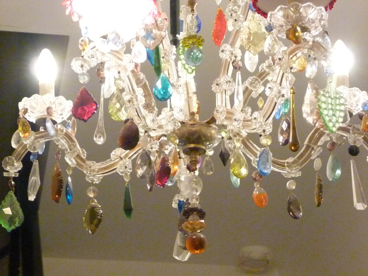 5 Arm Glass Marie Therese With Multi Coloured Drops The Vintage Intended For Coloured Glass Chandelier (#1 of 12)