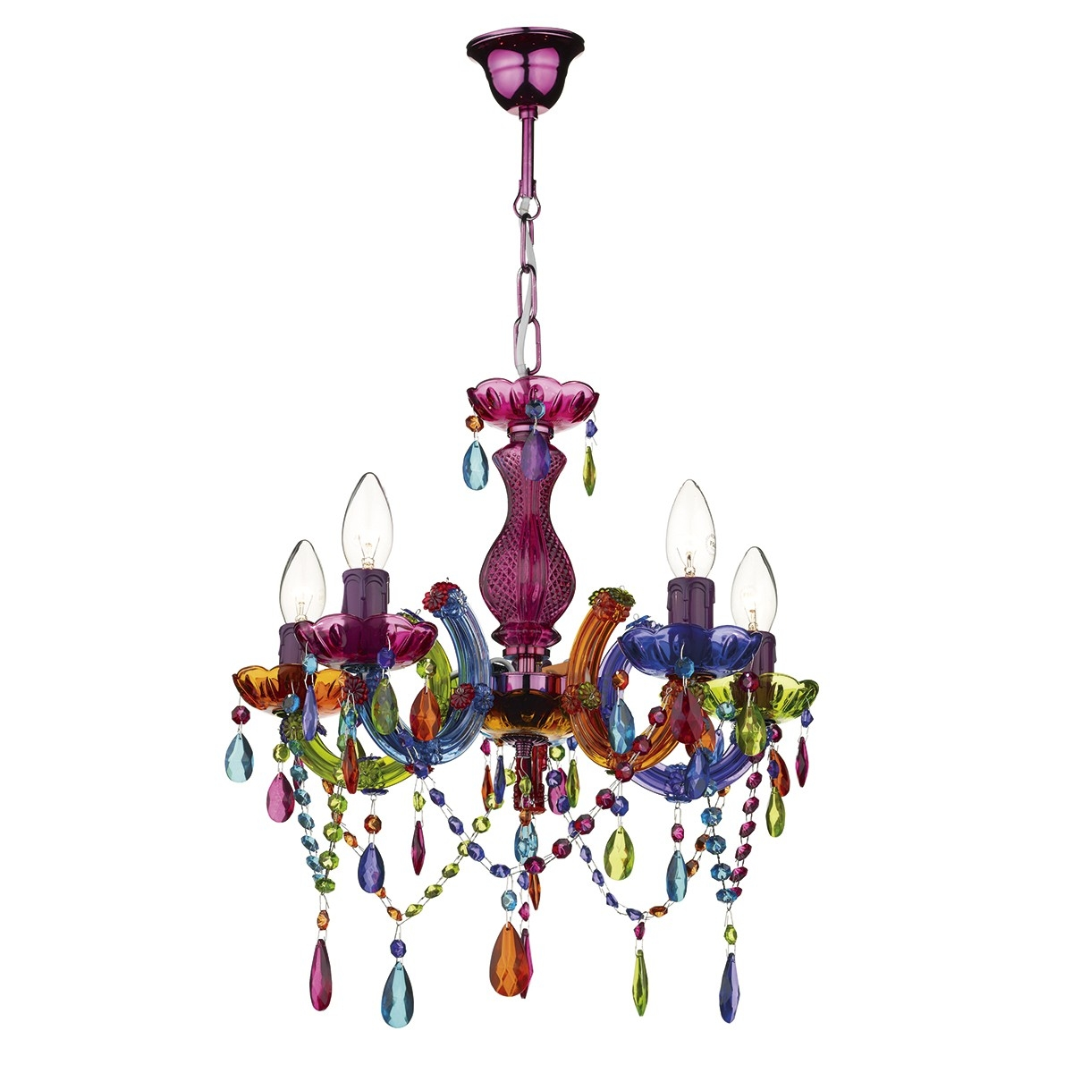 5 Light Multi Coloured Chandelier Throughout Coloured Chandeliers (#3 of 12)