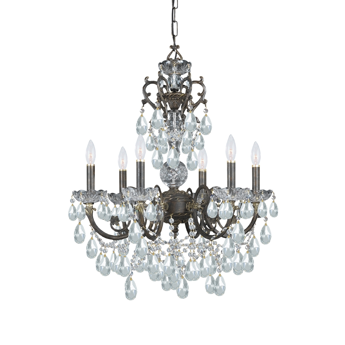 Inspiration about 5196 Eb Cl Mwp Legacy 6 Light Clear Crystal Bronze Chandelier Pertaining To Ornate Chandeliers (#10 of 12)