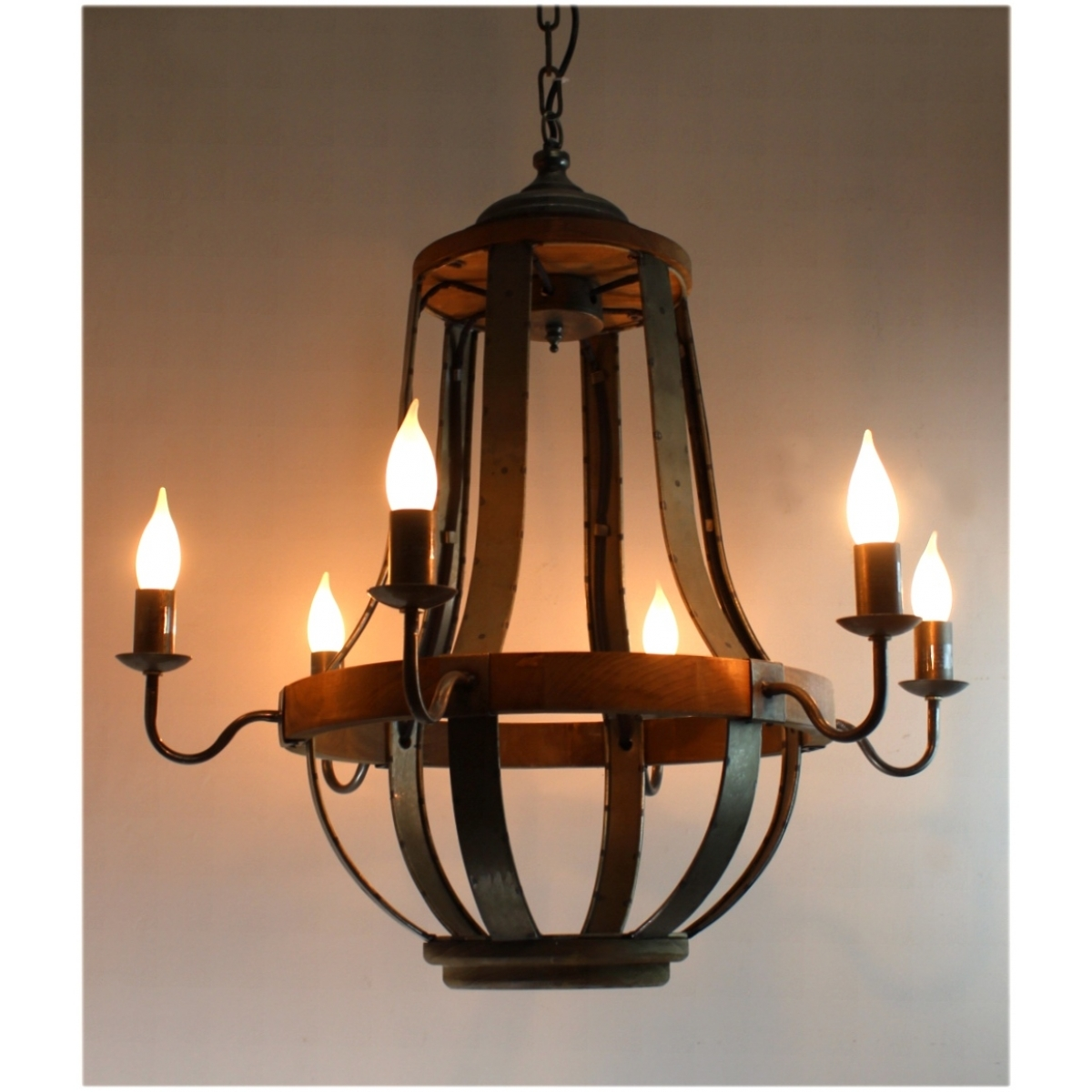 579 Iron Strap And Aged Wood Chandelier French Country Vintage Throughout Vintage Style Chandeliers (#1 of 12)