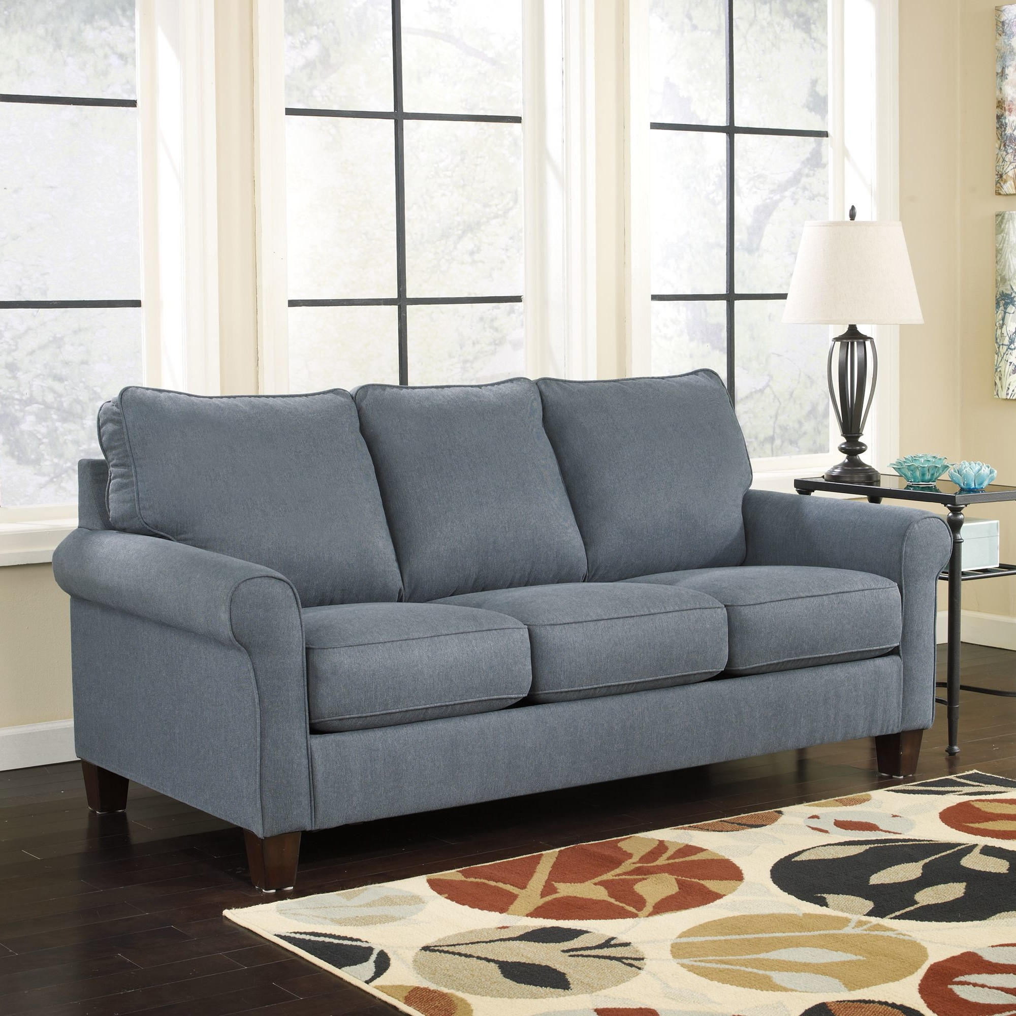70 inch sofa sofa design ideas perfect covering dark blue for Wide couches