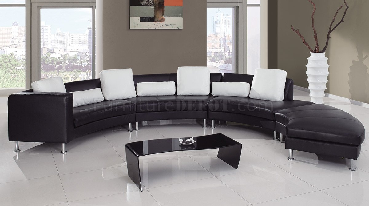 Inspiration about 919 Sectional Sofa In Blackwhite Leather Global Furniture With Black And White Sectional Sofa (#7 of 12)