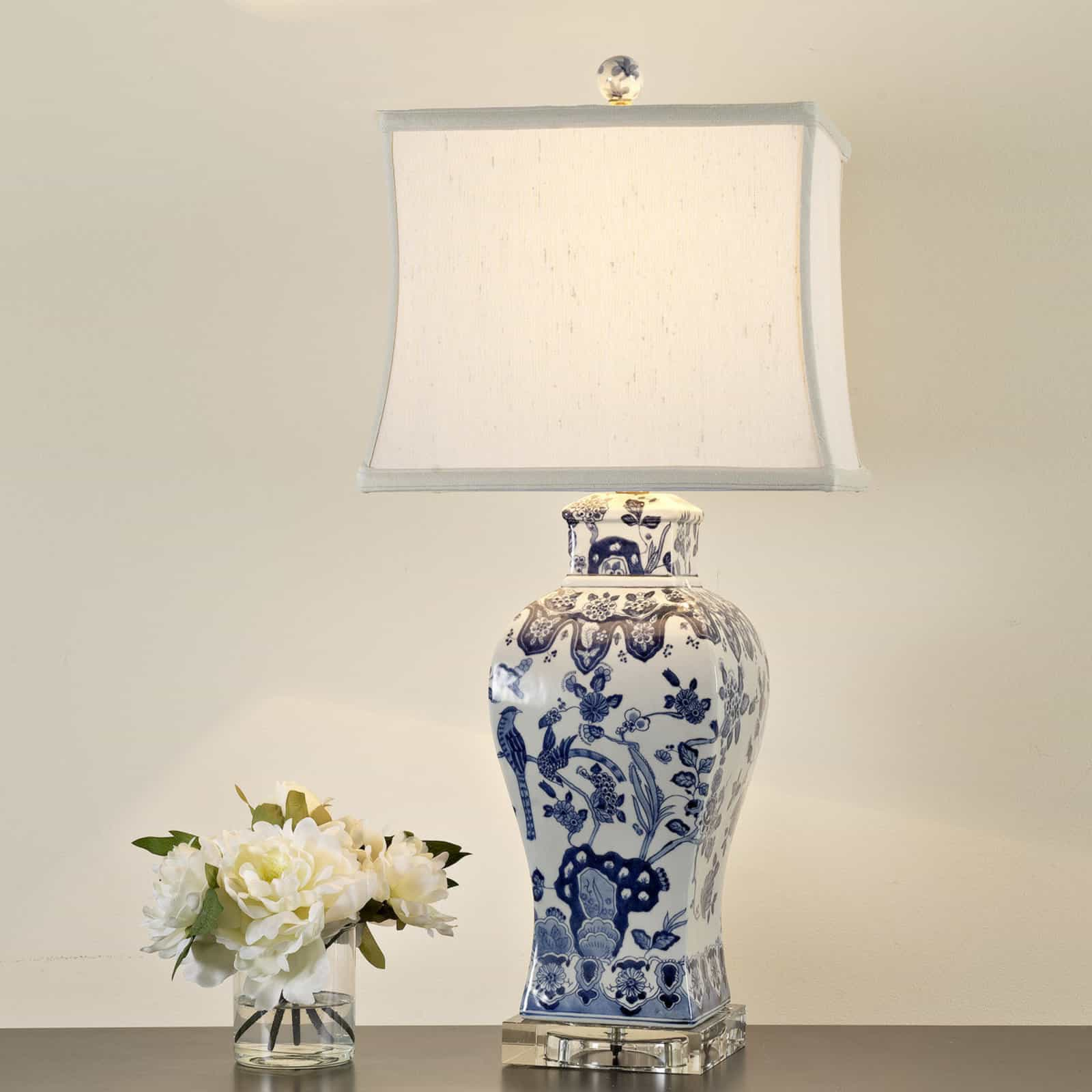 Square Vase Blue And White Floral Table Lamp (#5 of 5)
