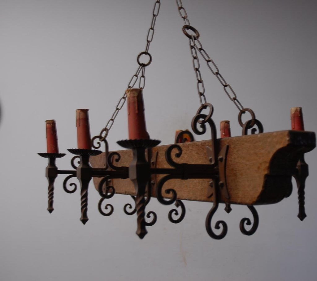 A French Vintage Wood Wrought Iron 6 Light Castle Chandelier Pertaining To Vintage Wrought Iron Chandelier (#1 of 12)