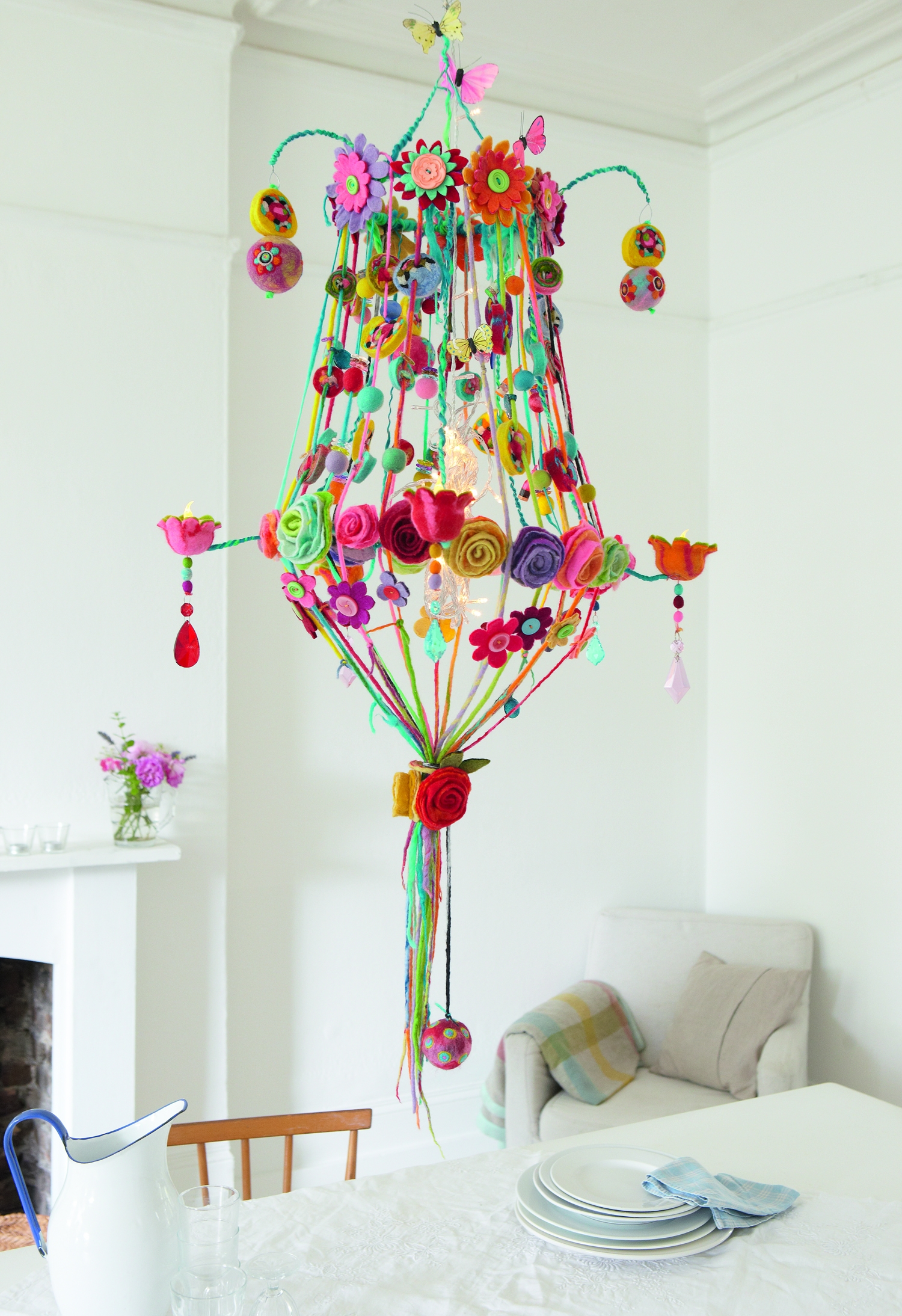 A Sculptress Of Felt From Penguins Purses To Ostentatious With Regard To Colourful Chandeliers (#1 of 12)