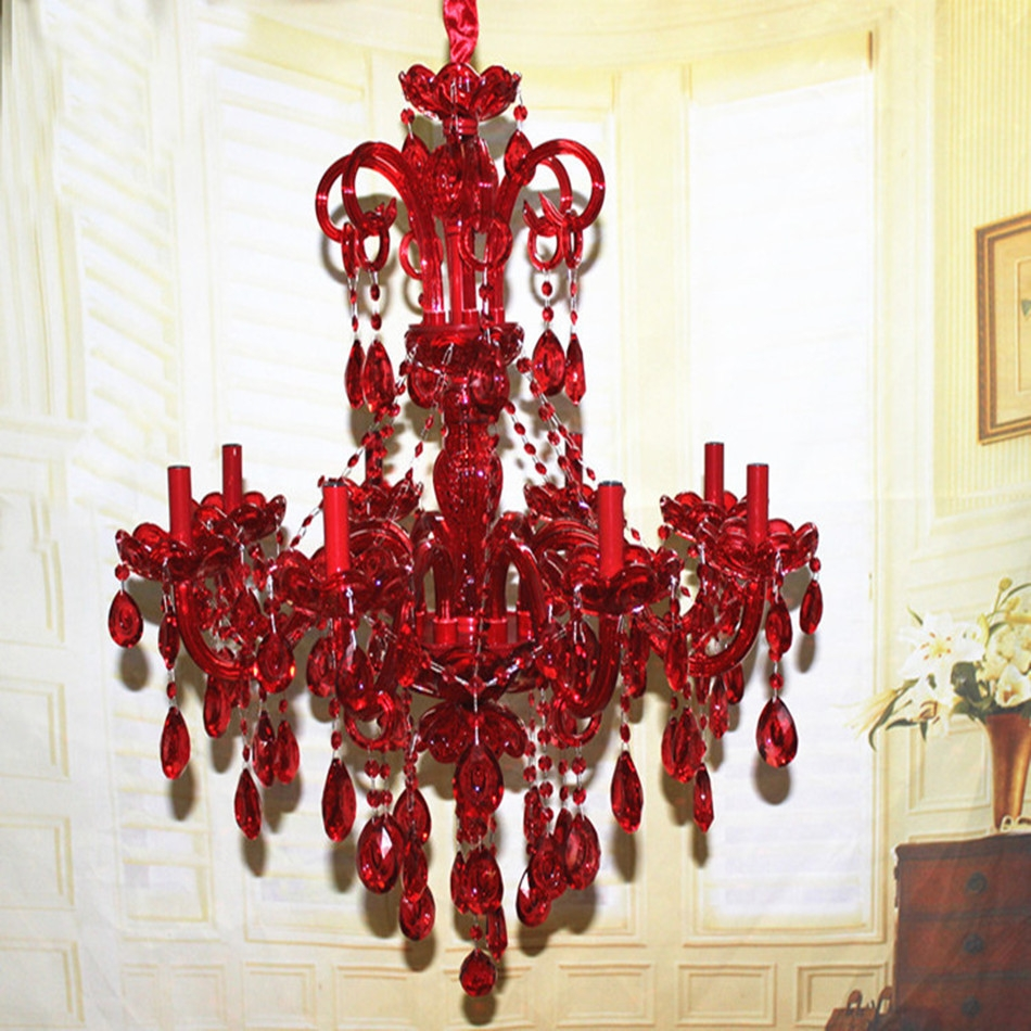 Aliexpress Buy New Stylish Art Decoration 8 Lights Ru Red For Red Chandeliers (#2 of 12)