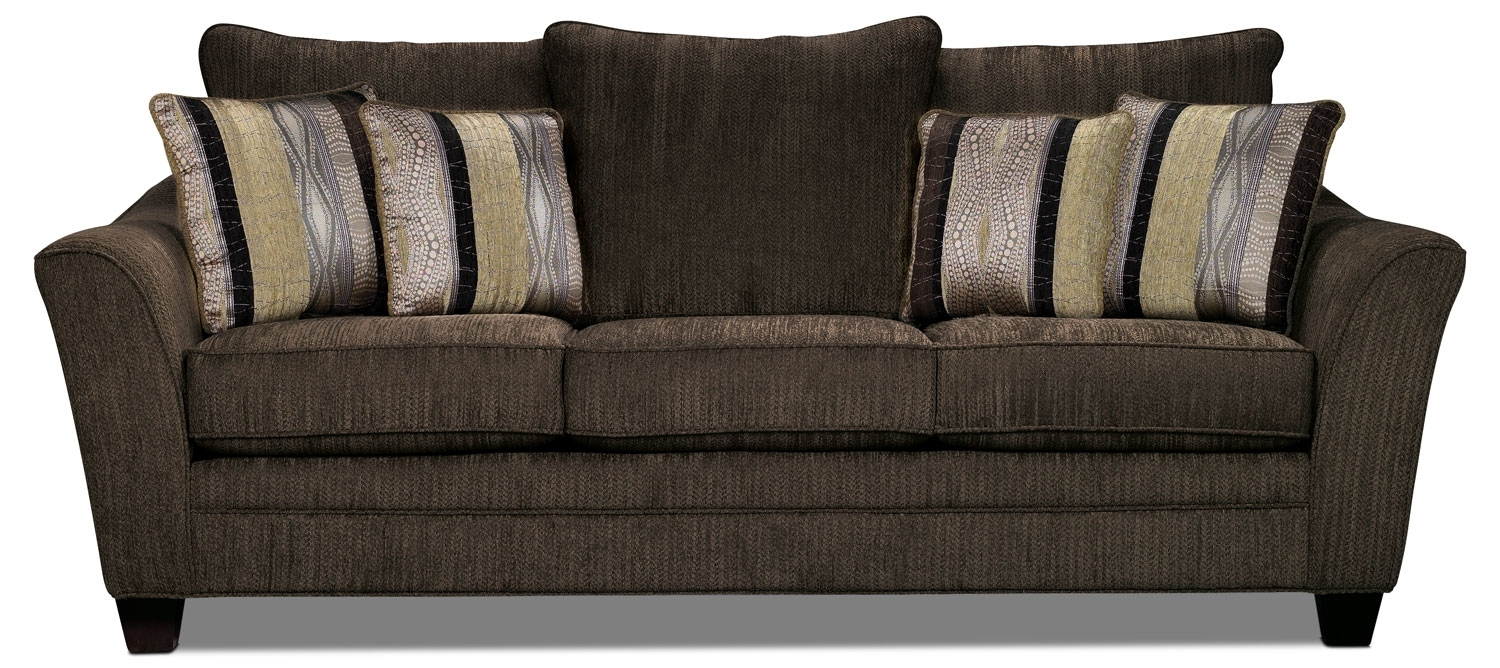 Allen Chenille Sofa Chocolate The Brick Intended For Brick Sofas (#2 of 12)