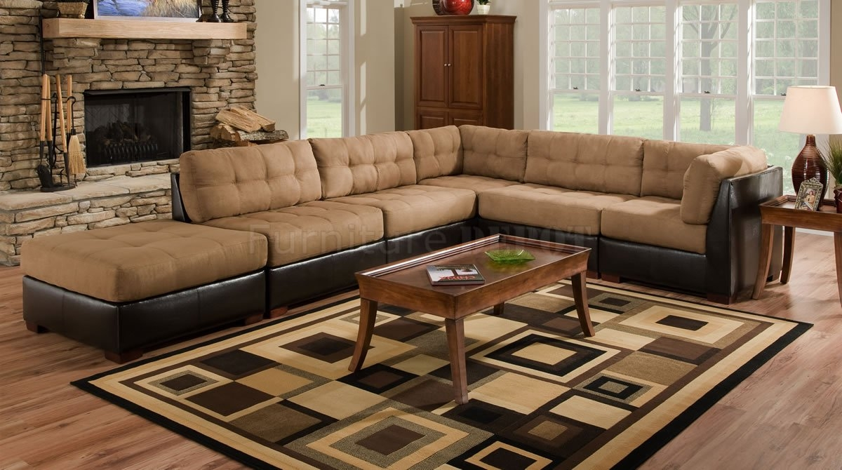 Amazing Leather And Cloth Sectional Sofas 45 About Remodel Abson Throughout Abbyson Living Charlotte Dark Brown Sectional Sofa And Ottoman (#3 of 12)