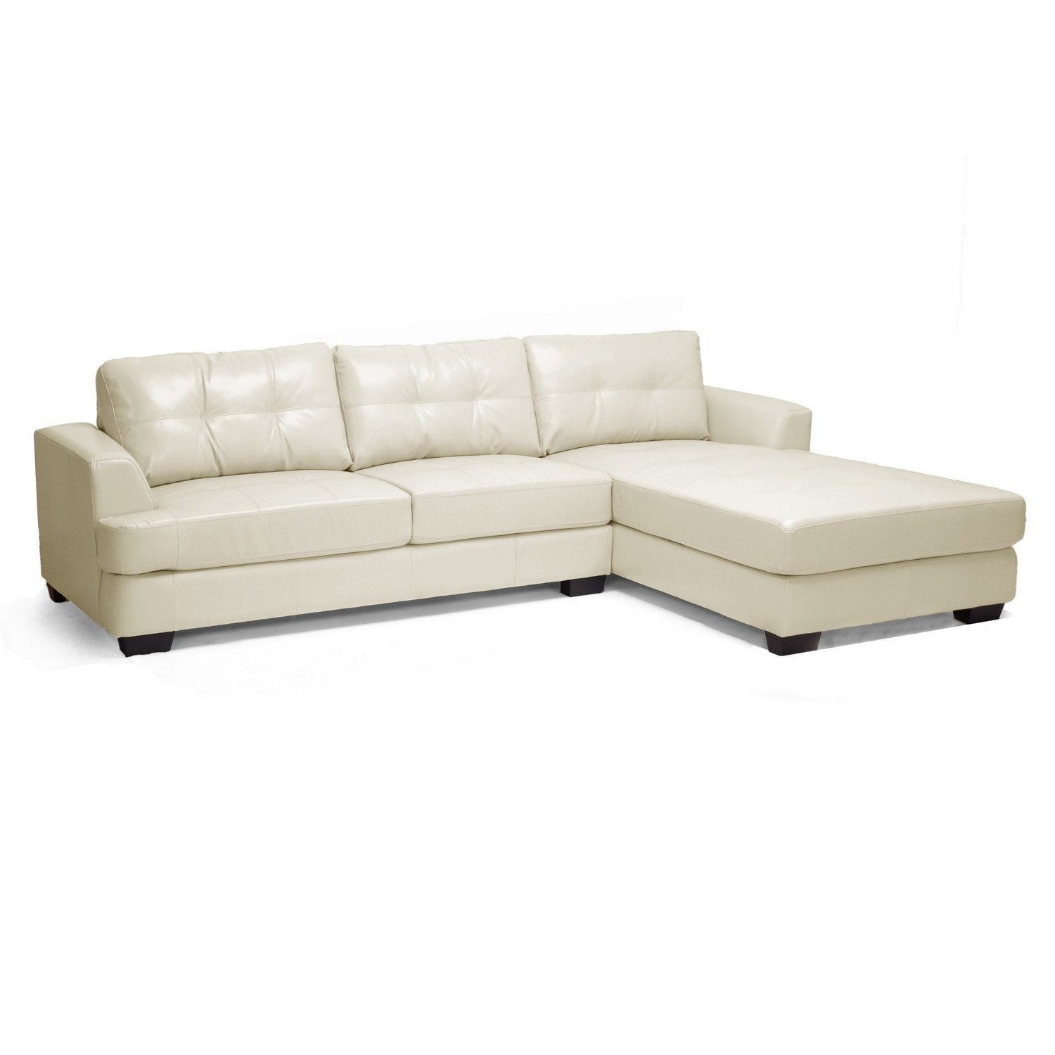 Amazon Baxton Studio Dobson Leather Modern Sectional Sofa For Dobson Sectional Sofa (#1 of 12)