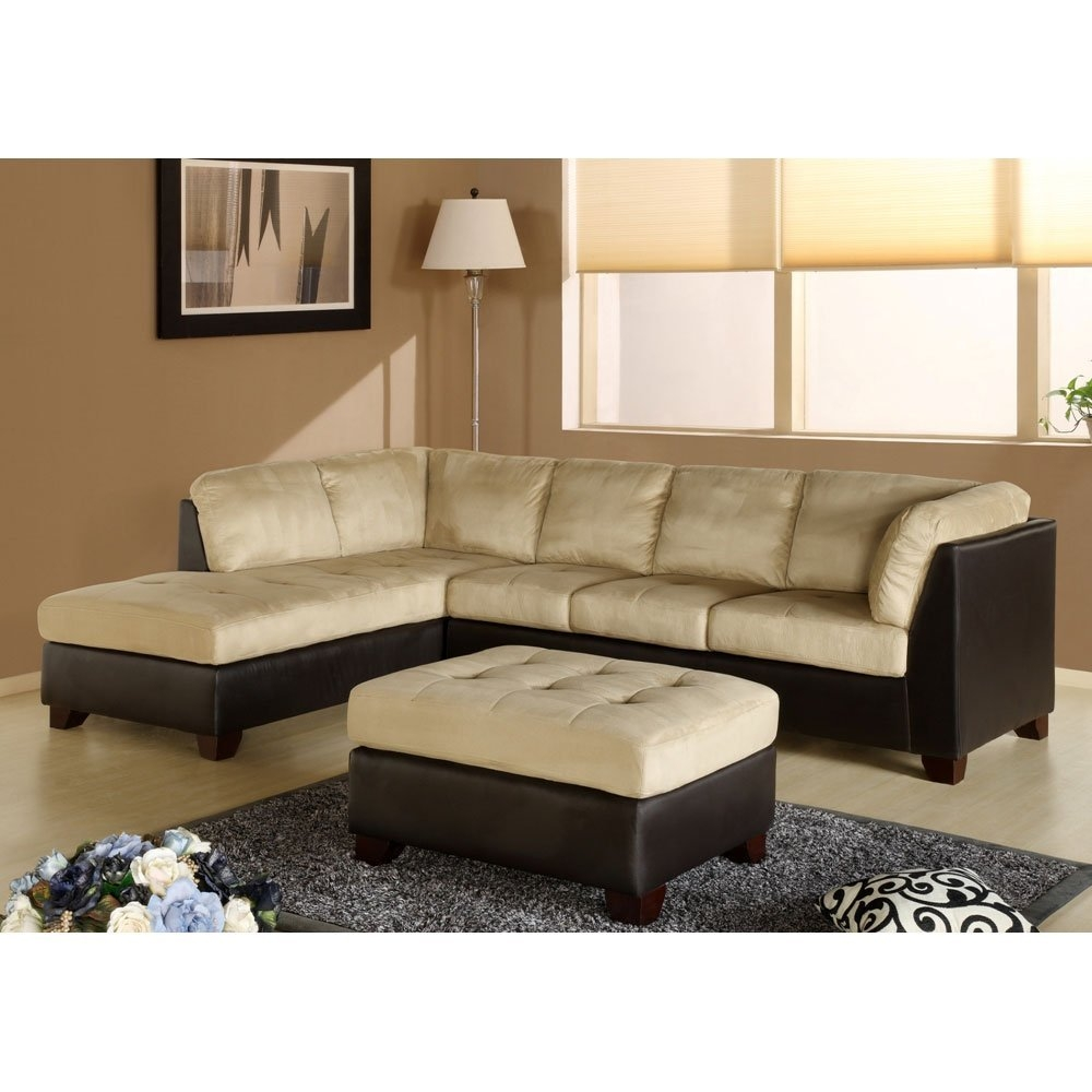 12 Collection Of Abbyson Living Charlotte Beige Sectional Sofa And Ottoman