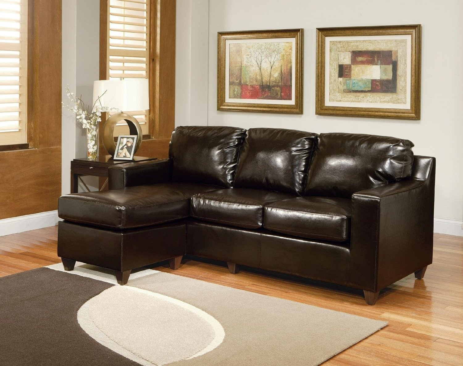 Amusing Sofa Sectionals For Small Spaces 41 With Additional Throughout Contemporary Black Leather Sectional Sofa Left Side Chaise (#2 of 12)