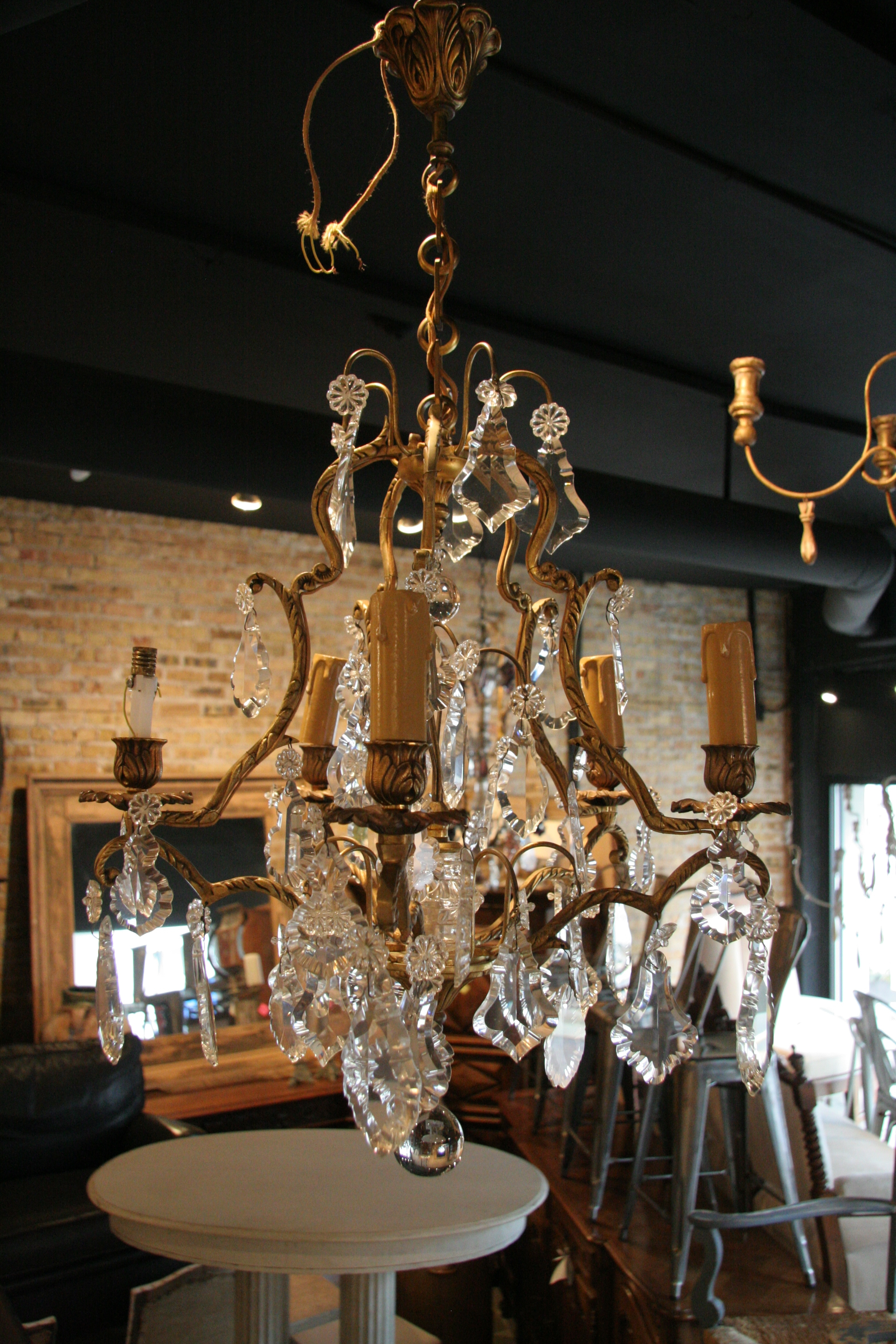 Antique French 5 Light Brass And Crystal Chandelier In French Antique Chandeliers (#4 of 12)