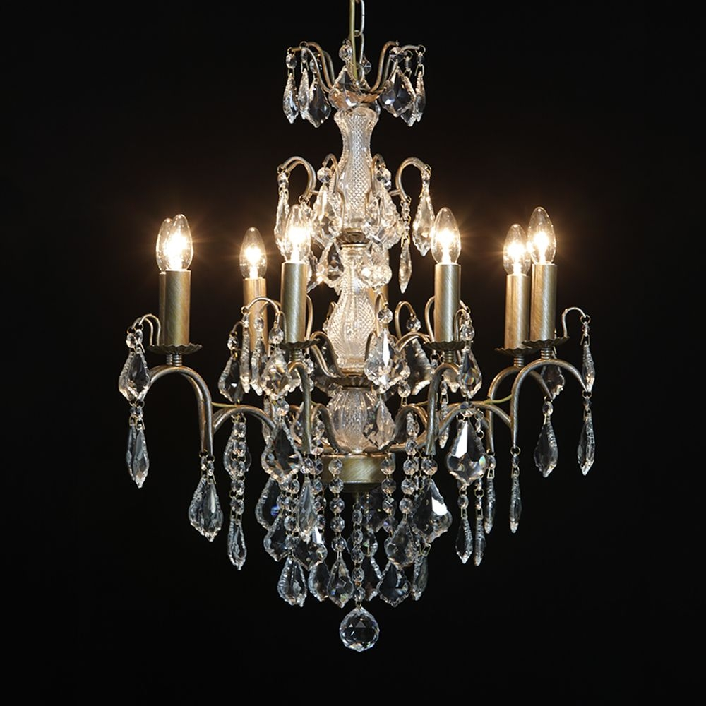 Antique French Cut Glass Gold Chandelier 8 Arm With French Glass Chandelier (#1 of 12)