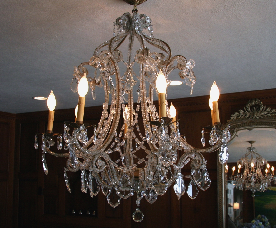 Antique French Macaroni Bead Crystal Chandelier Sold Inside French Antique Chandeliers (#5 of 12)