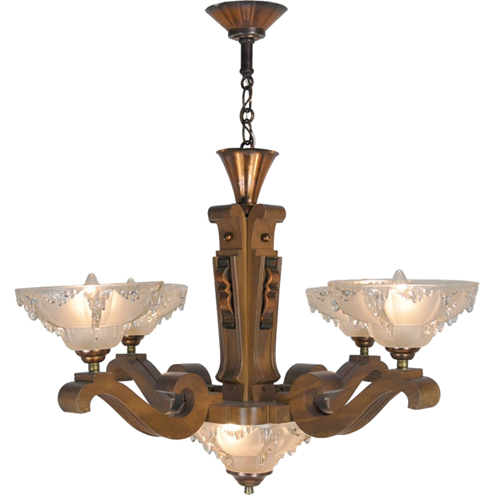 Art Deco French Ezan Style Icicle Chandelier With 4 Arm Wooden In French Wooden Chandelier (#2 of 12)