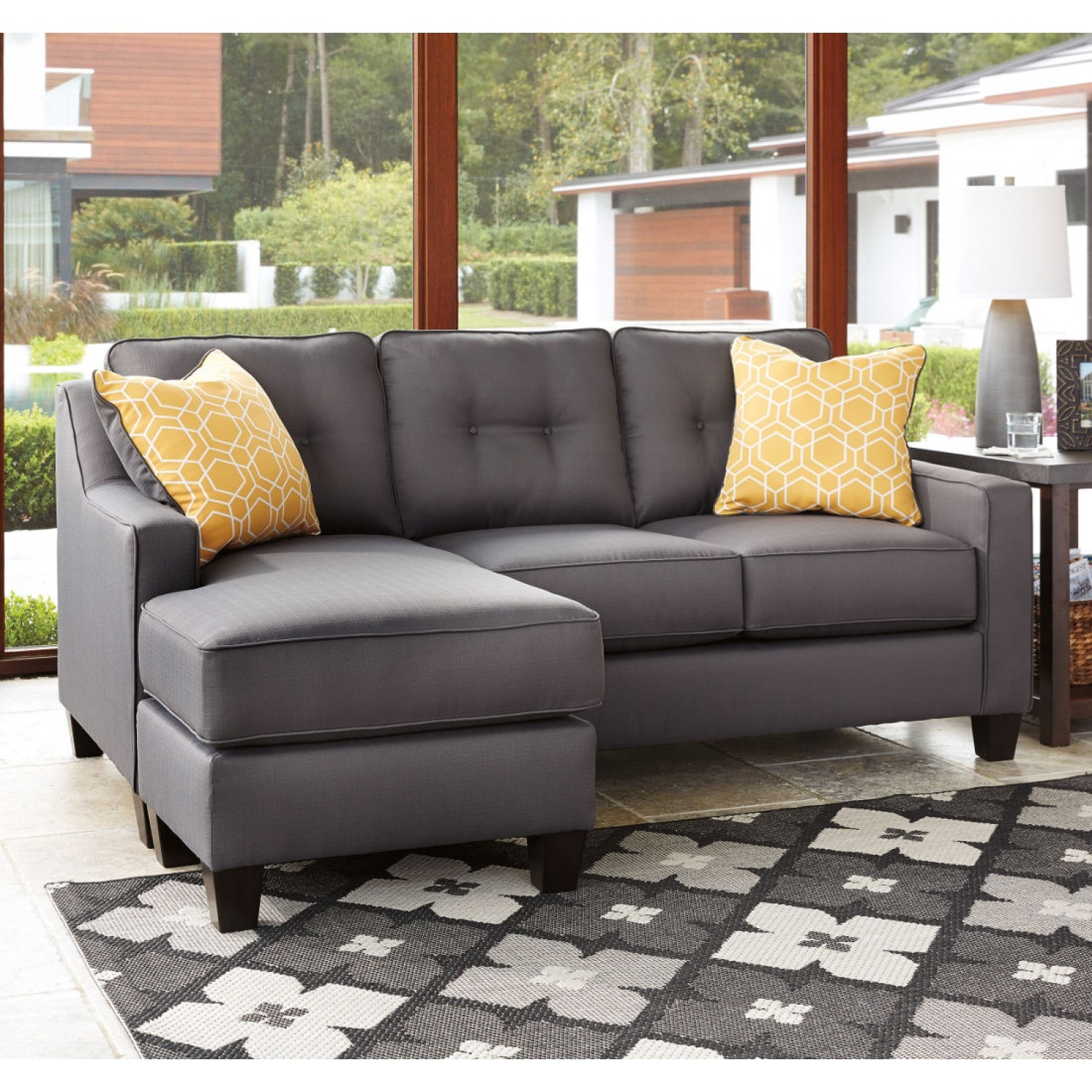 Ashley Furniture Aldie Nuvella Sofa Chaise In Gray Local In Ashley Furniture Gray Sofa (View 7 of 12)