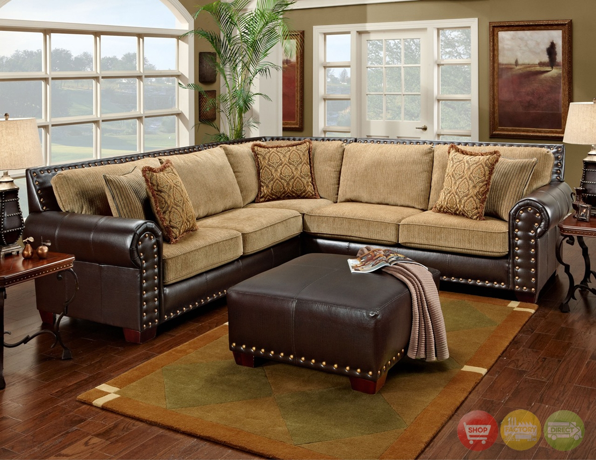 Awesome Traditional Brown And Tan Sectional Sofa With Nailhead Regarding Chenille And Leather Sectional Sofa (#1 of 12)