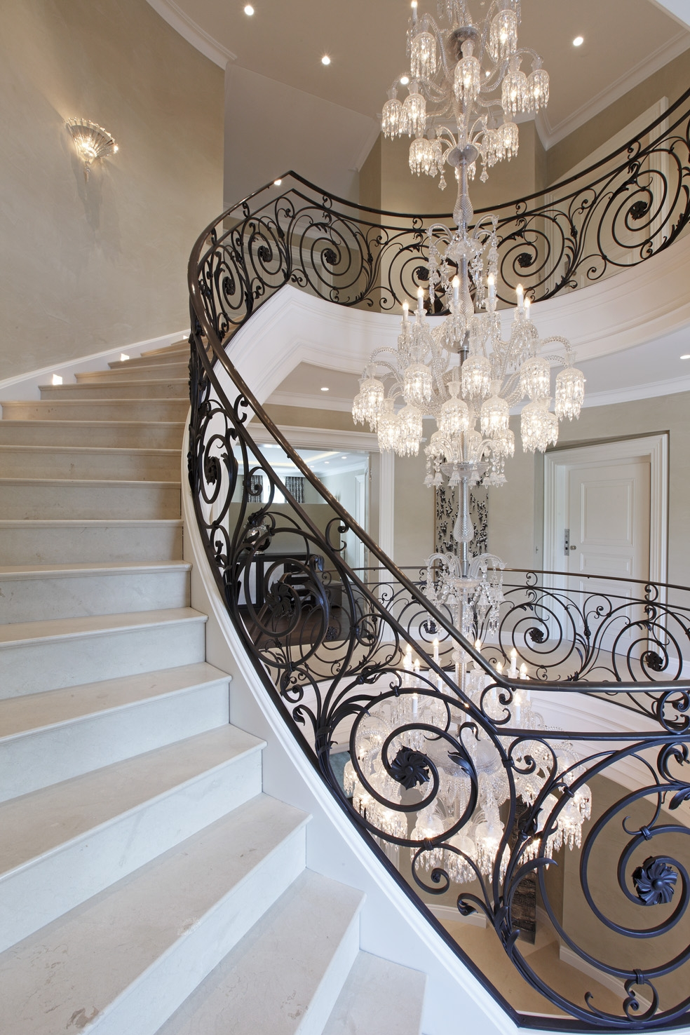12 ideas of staircase chandeliers baccarat chandelier villa privestunning wrought iron stair with staircase chandeliers 5 of 12 aloadofball Image collections