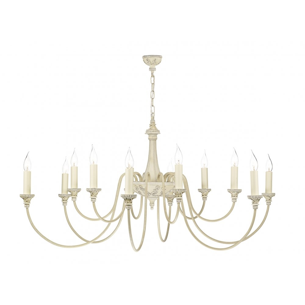 Bai1245 Bailey Chandelier David Hunt 12 Light Cream Pendant With Regard To Cream Chandelier Lights (#1 of 12)