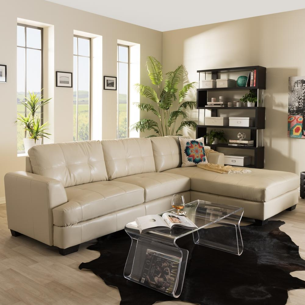 Baxton Studio Dobson Contemporary Cream Bonded Leather Upholstered In Dobson Sectional Sofa (#2 of 12)