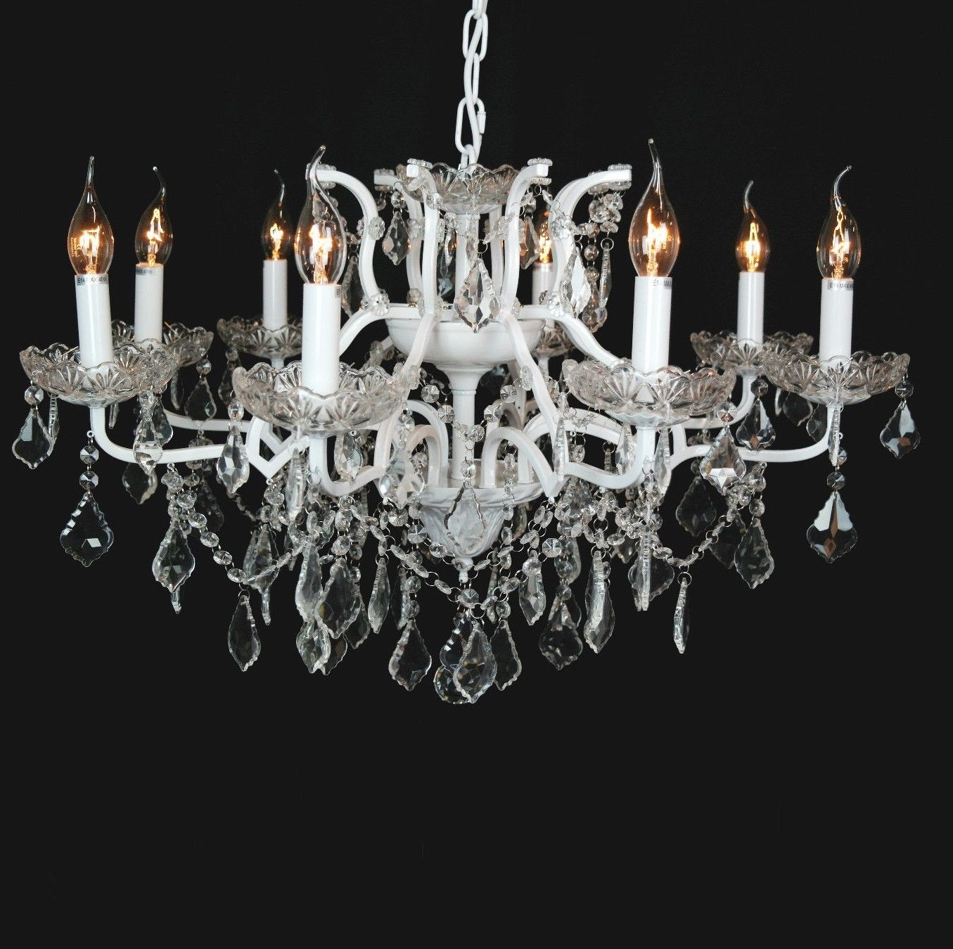 Beautiful Cut Glass French Chandelier Shallow 8 Arm White In French Glass Chandelier (#2 of 12)