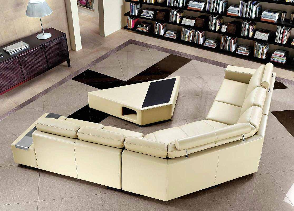 Beige Sectional Sofa With Coffee Table Leather Sectionals With Regard To Coffee Table For Sectional Sofa (#1 of 12)