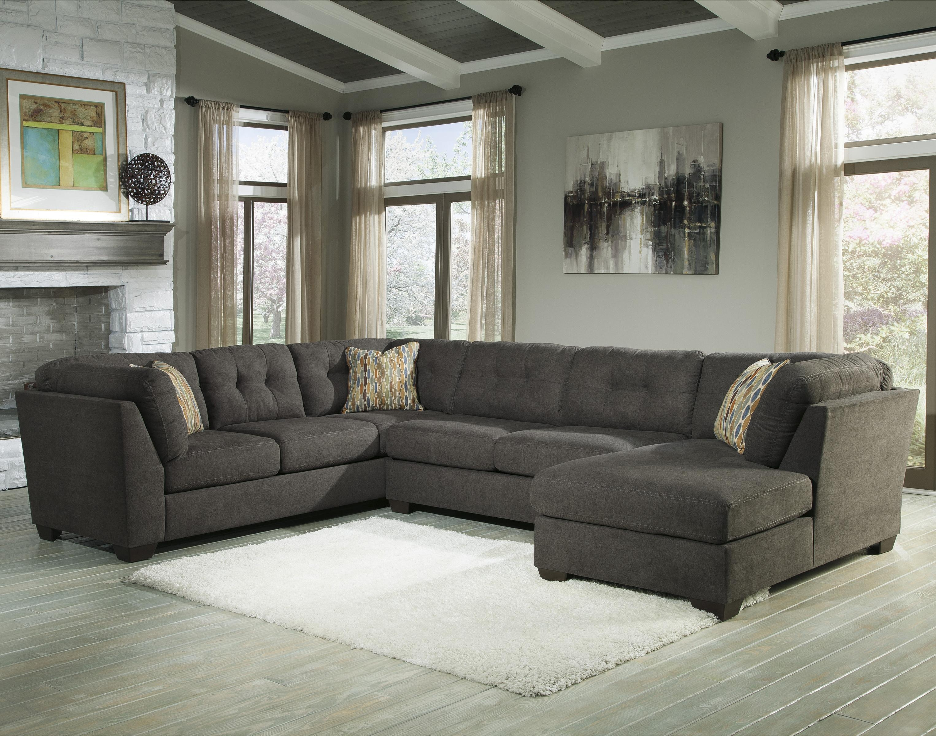 Benchcraft Delta City Steel 3 Piece Modular Sectional With Right With Regard To 3 Piece Sectional Sleeper Sofa (#3 of 12)