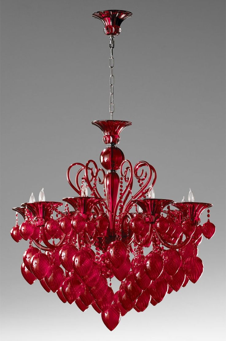 Popular Photo of Red Chandeliers