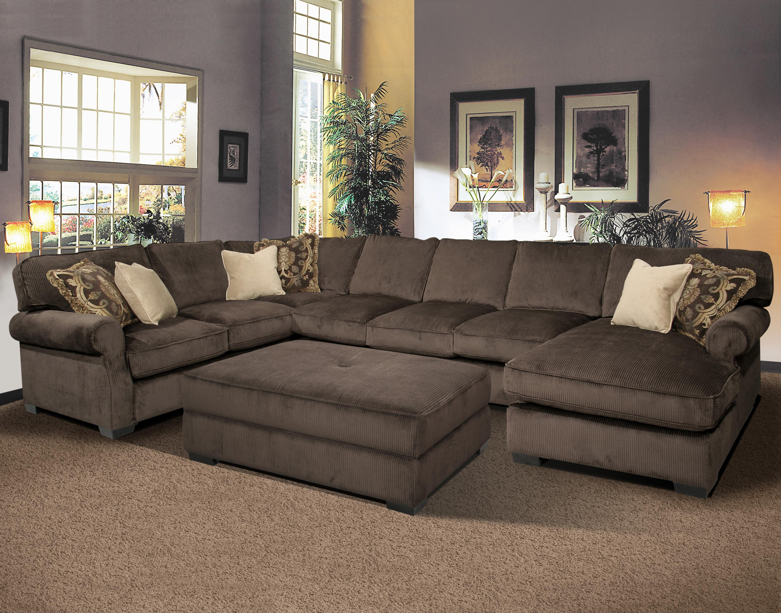 Big And Comfy Grand Island Large 7 Seat Sectional Sofa With Right Intended For Extra Large Sectional Sofas (#2 of 12)
