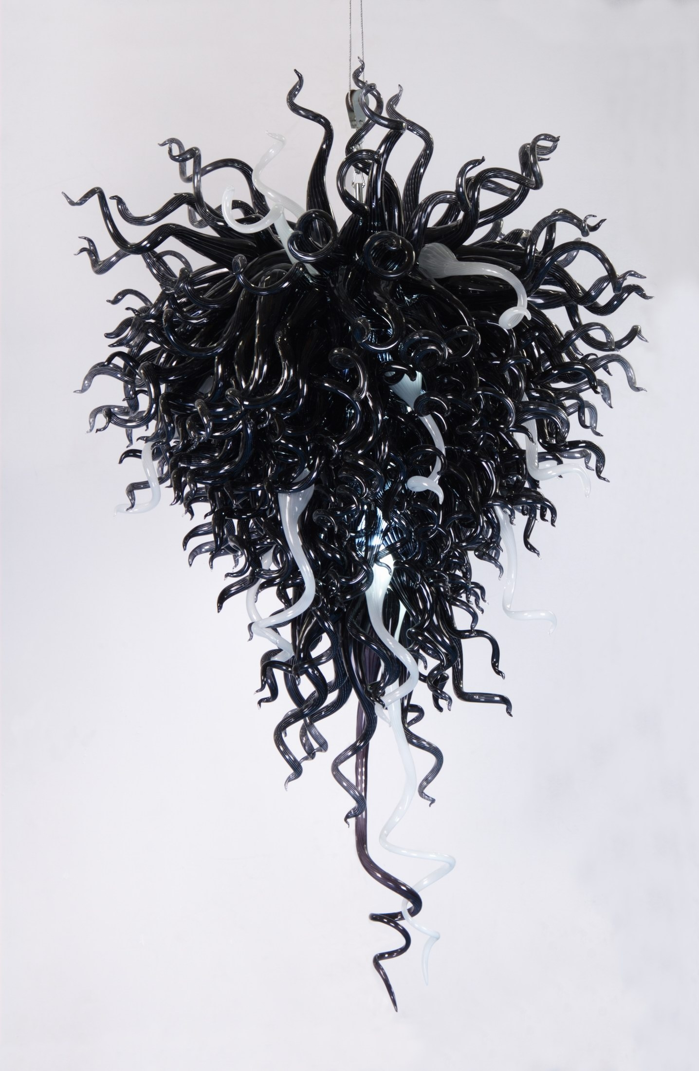 Black Blown Glass Chandelier Within Black Glass Chandeliers (#1 of 12)