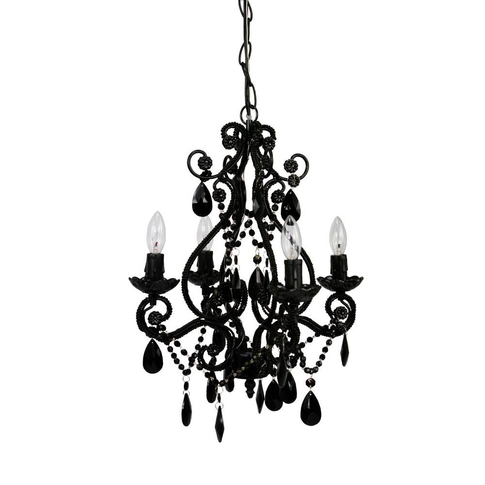 Black Plug In Chandeliers Hanging Lights The Home Depot With Black Chandeliers (#7 of 12)