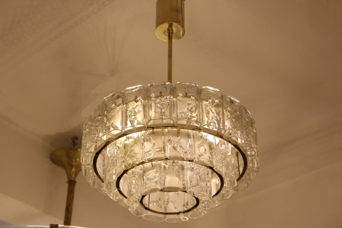 Popular Photo of Brass And Glass Chandelier
